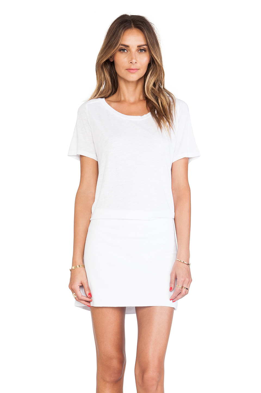 09071c4ecf03 Lyst - Monrow Slub Cotton Modal T-Shirt Dress in White