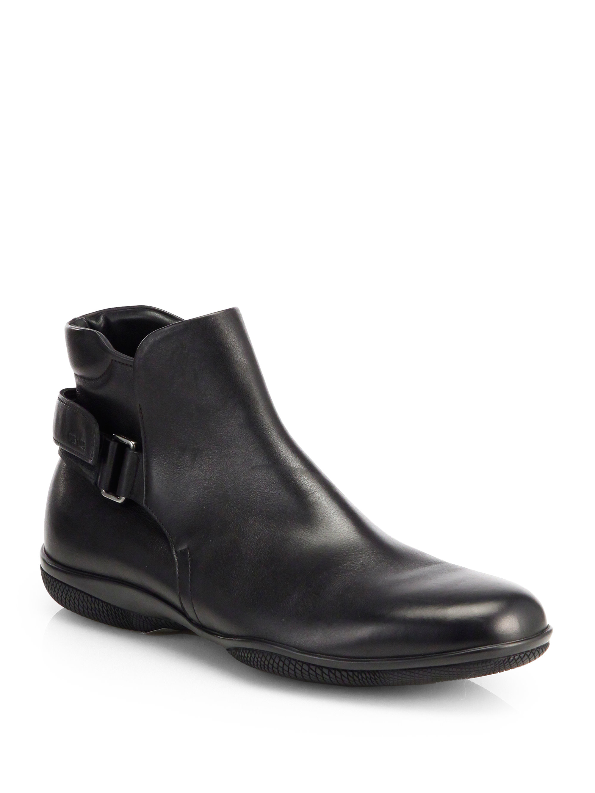 prada buckled leather ankle boots in black for lyst