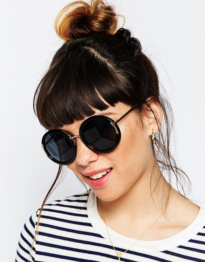Oversized Round Sunglasses  asos oversized round sunglasses with metal corner hinge and nose
