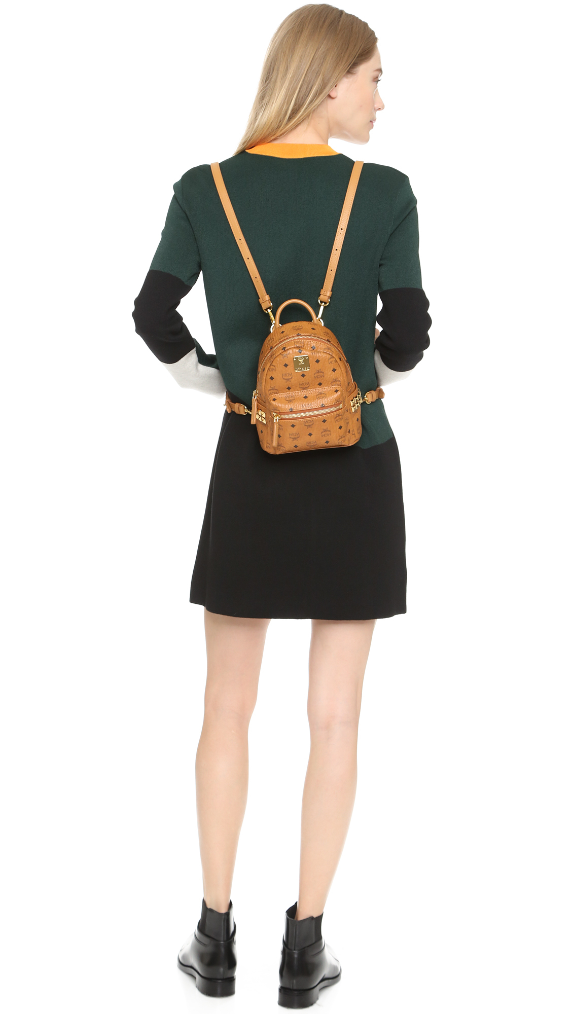Lyst - MCM Side Stud Baby Stark Backpack - Cognac in Brown f99382ea05095