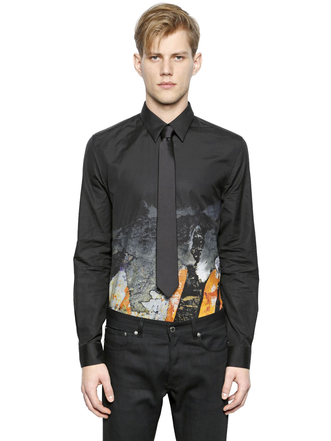 Givenchy Love Printed Cotton Poplin Shirt in Black for Men ...
