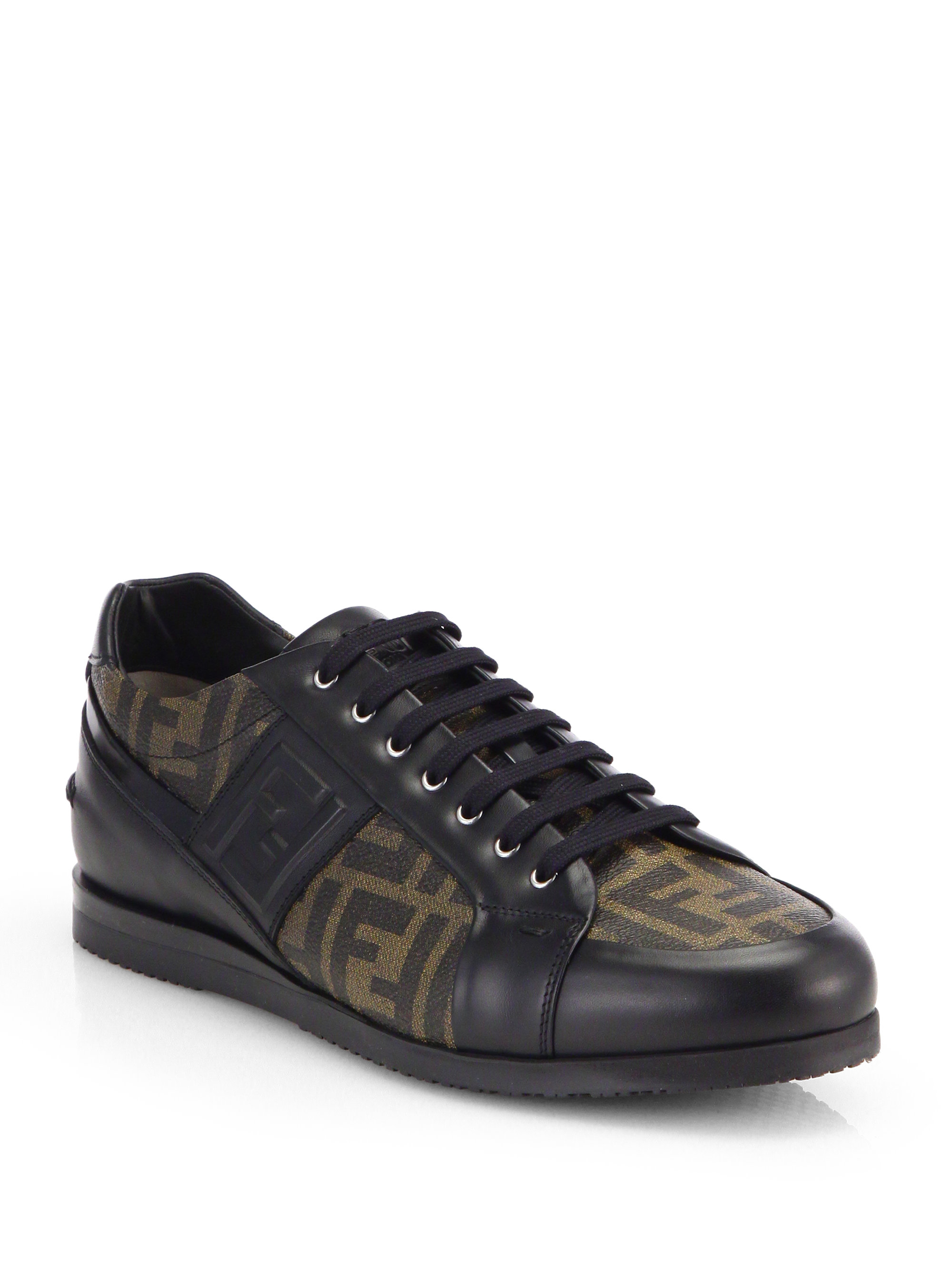 fendi zucca softy lace up leather sneakers in brown for