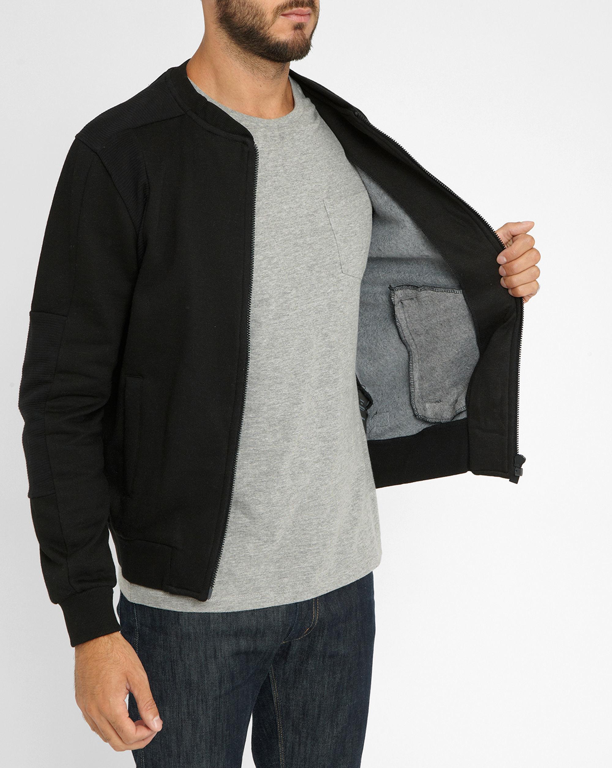 eleven paris black mily shoulder details zipped sweatshirt in black for men lyst. Black Bedroom Furniture Sets. Home Design Ideas
