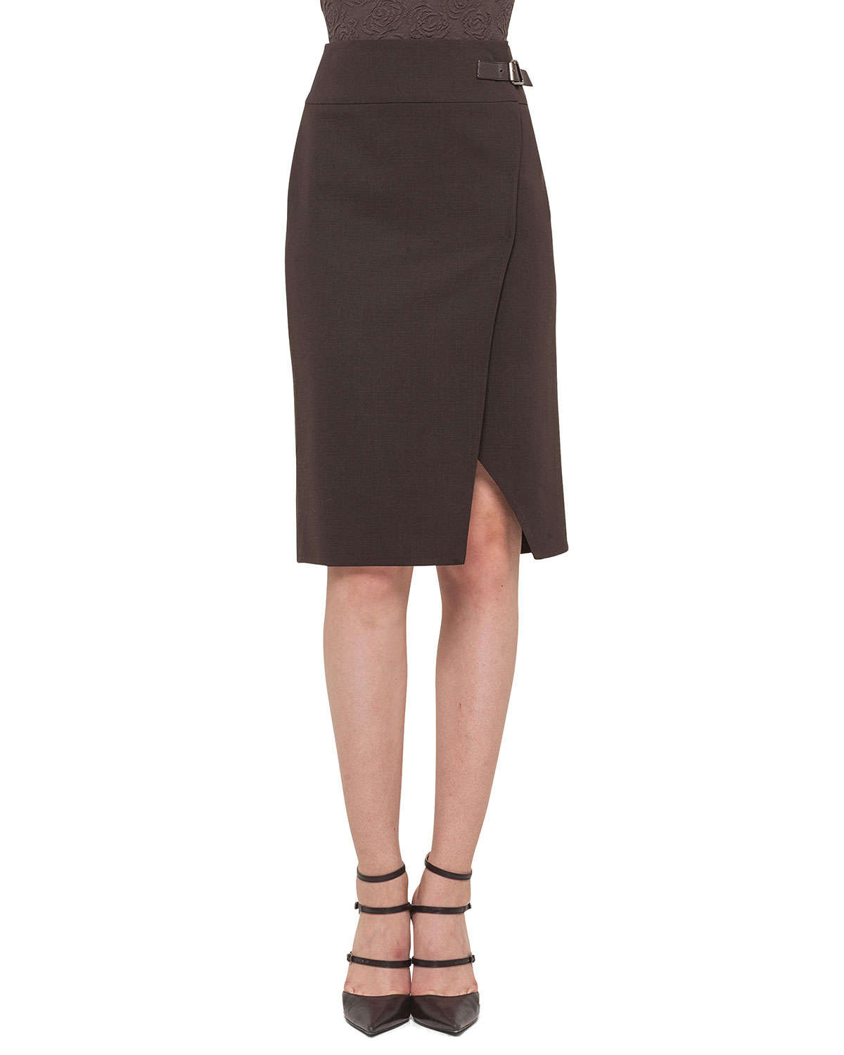 akris faced high waisted slit pencil skirt in brown