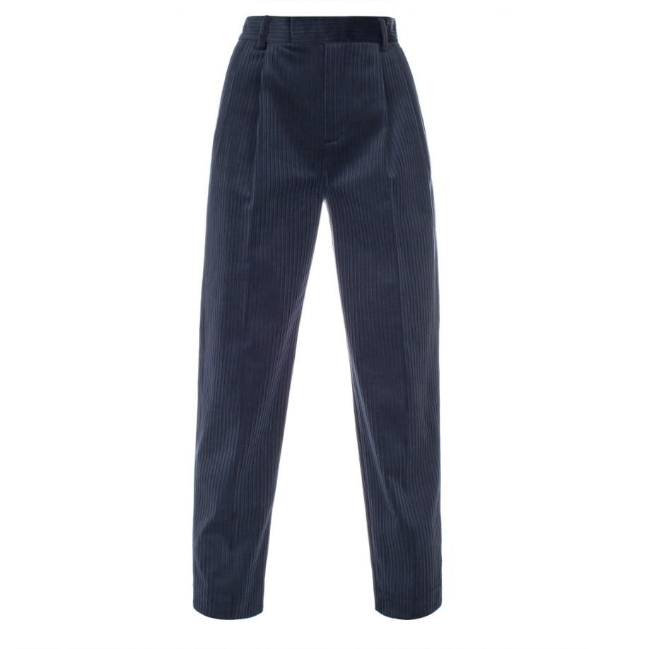 Paul Smith Women S Navy Corduroy Pleat Front Trousers In