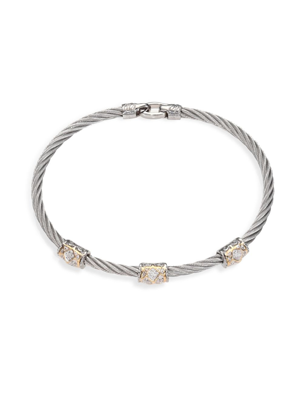 Charriol Diamond 18k Yellow Gold Stainless Steel Cable