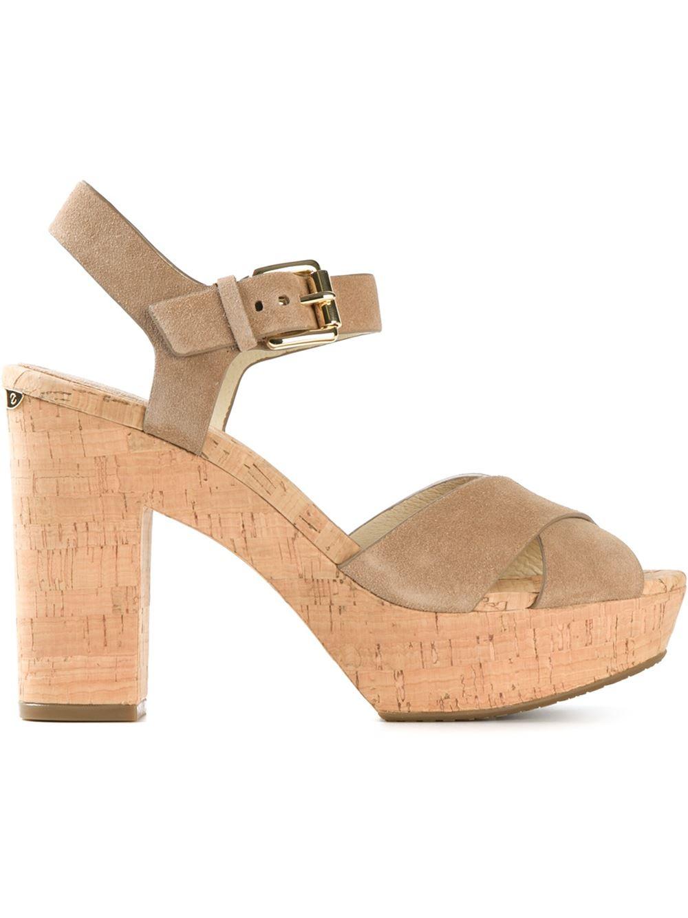 356e0cd209dd Lyst - MICHAEL Michael Kors Natalia Suede Platform Sandals in Brown