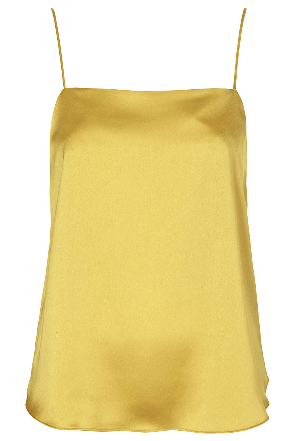 bc83efa2518c1 TOPSHOP Satin Straight Neck Cami Top in Yellow - Lyst