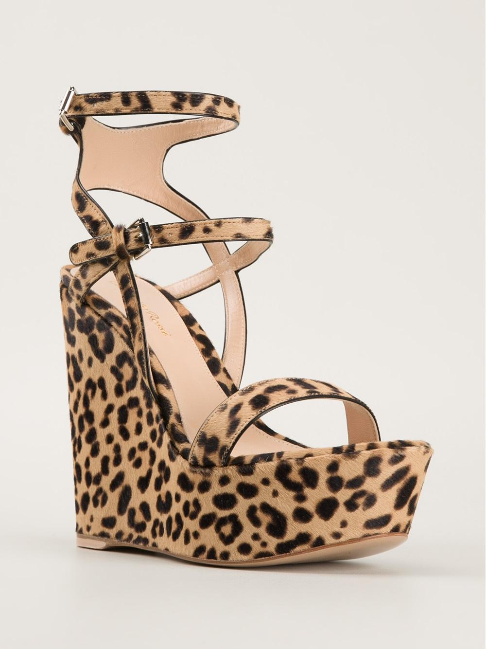 3dd9b95ad Gianvito Rossi Leopard Print Wedge Sandals - Lyst