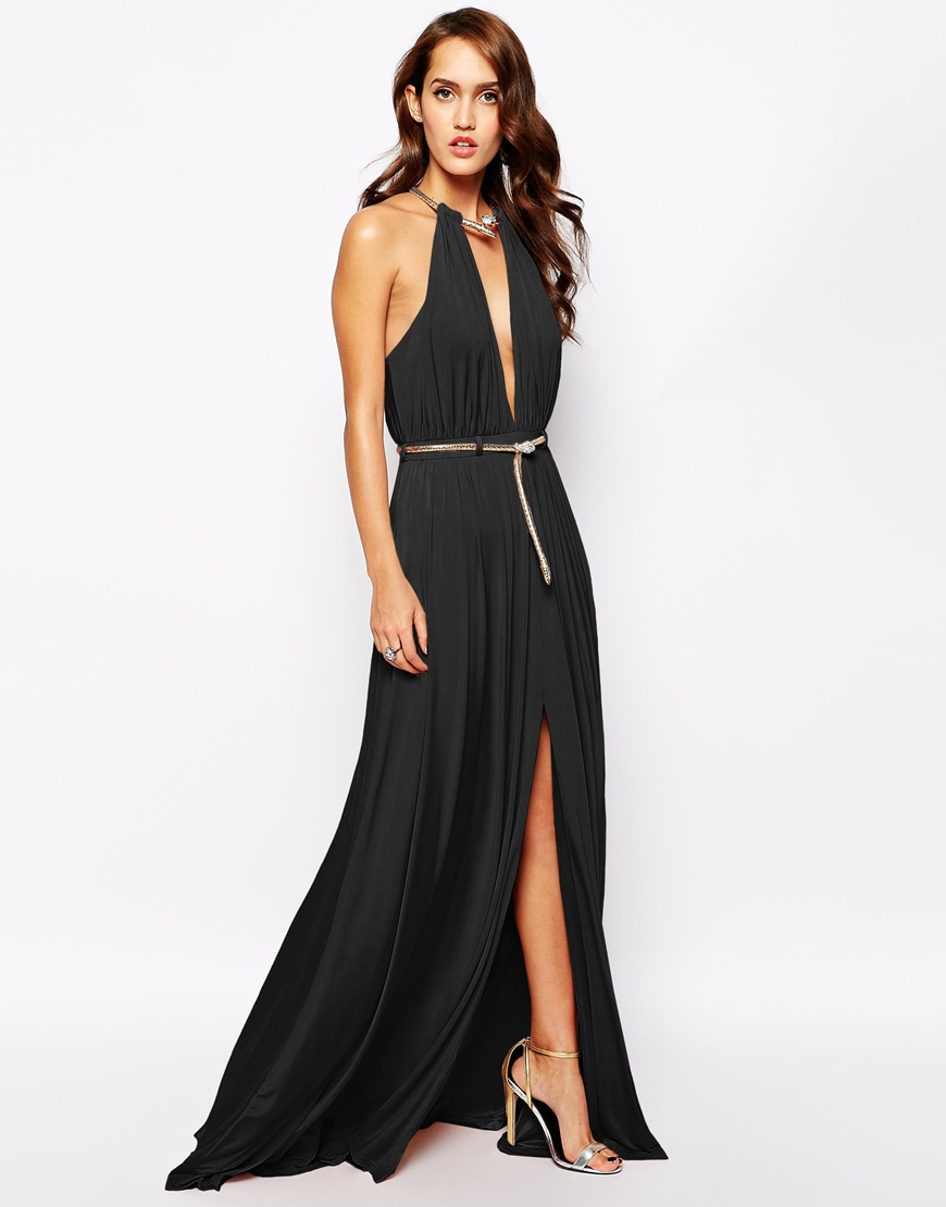 Lyst - Forever Unique Plunge Neck Maxi Dress With Snake Belt in Black a649473895
