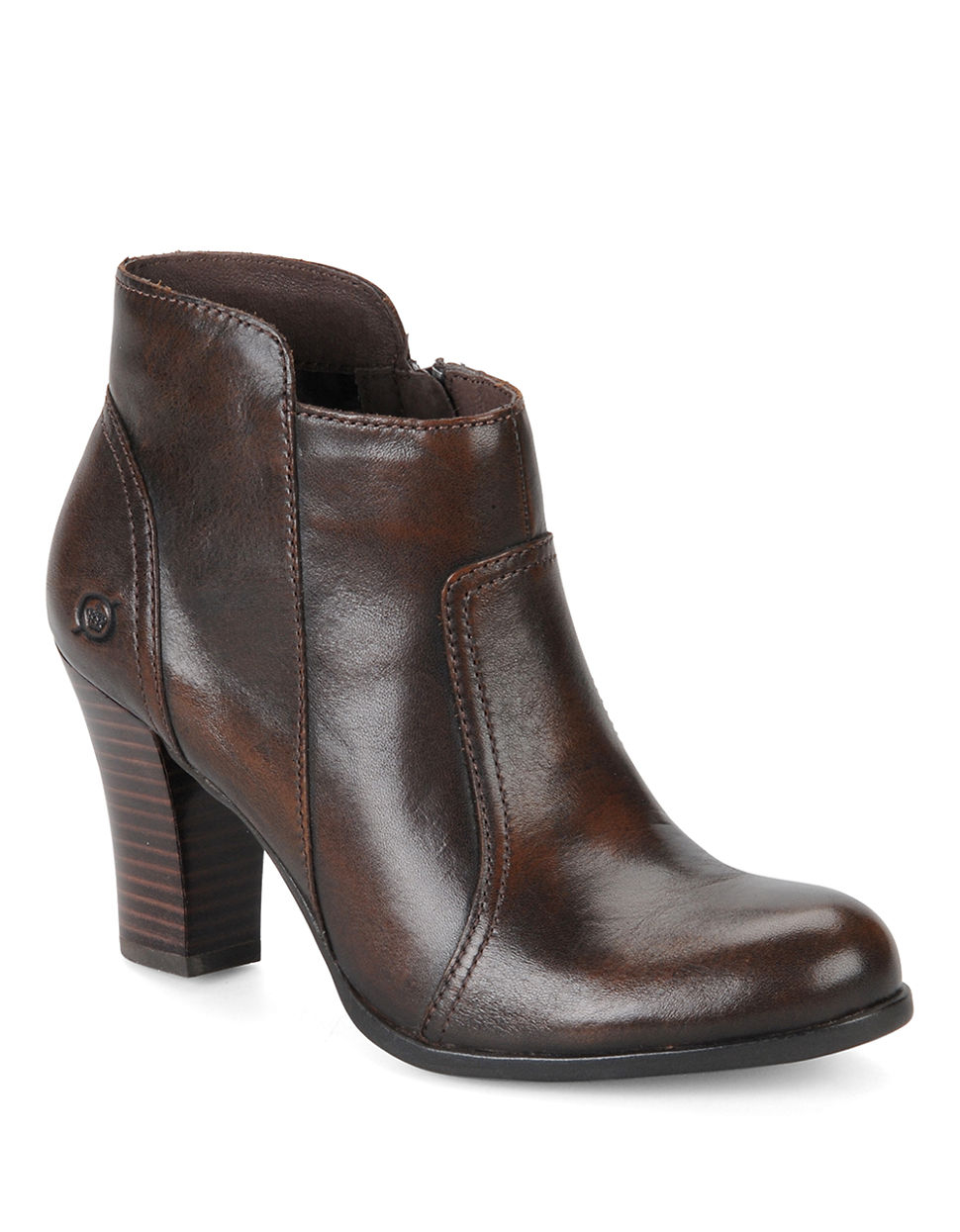 born leather high heel booties in brown lyst