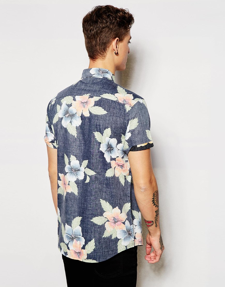 fdbc618240a Lyst - ASOS Floral Shirt In Short Sleeve in Black for Men