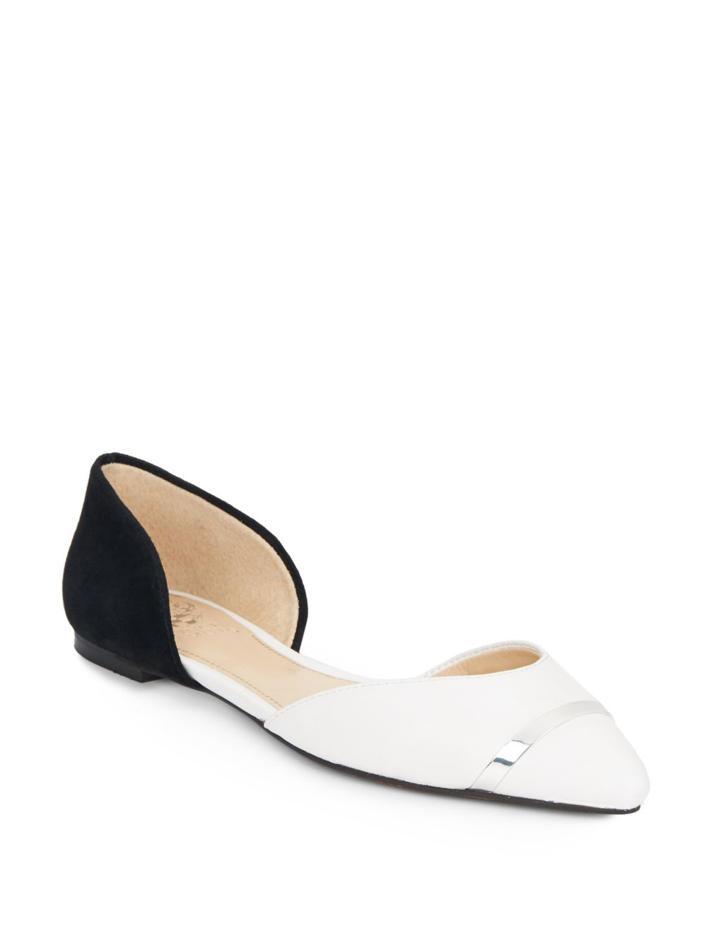 Vince Camuto Hope Two Tone Leather Flats In White Lyst
