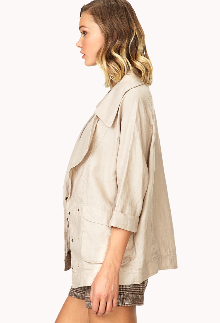 a7d27db4fef Lyst - Forever 21 Easy Linen Jacket in Brown