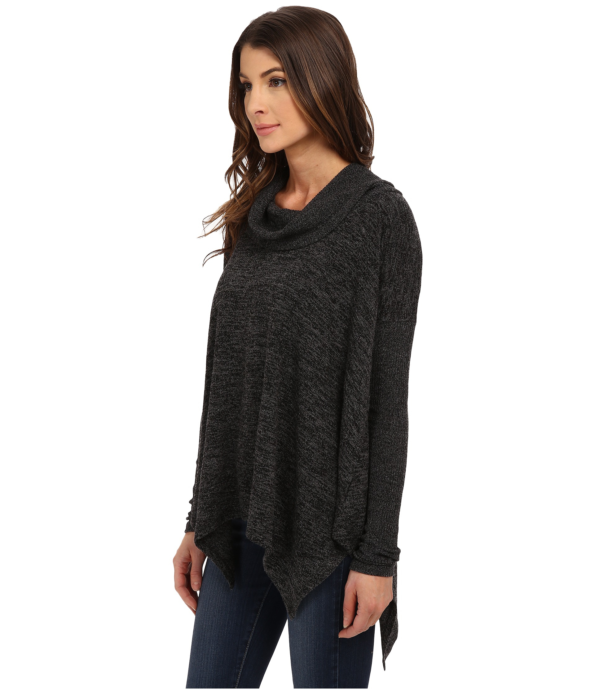 Mod-o-doc Heather Sweater Long Sleeve Cowl Neck Pullover W ...