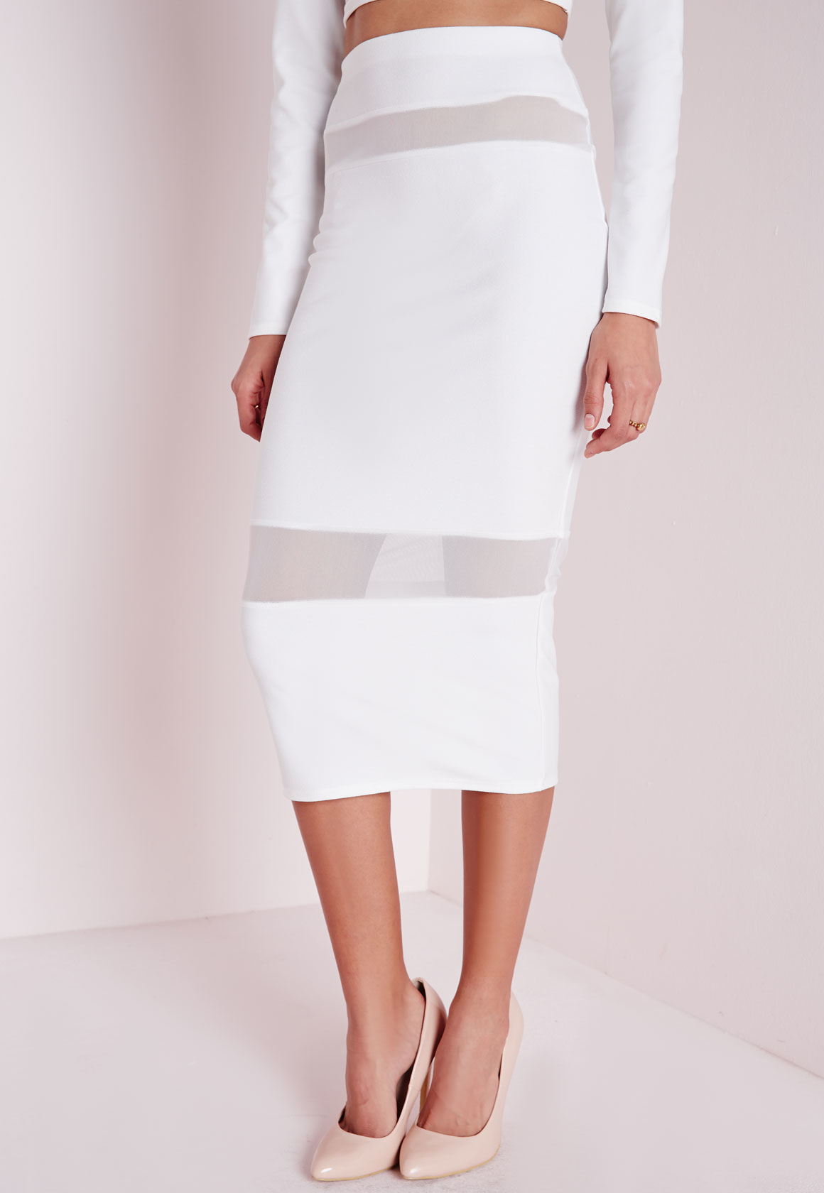 Missguided Mesh Insert Midi Skirt White in White | Lyst