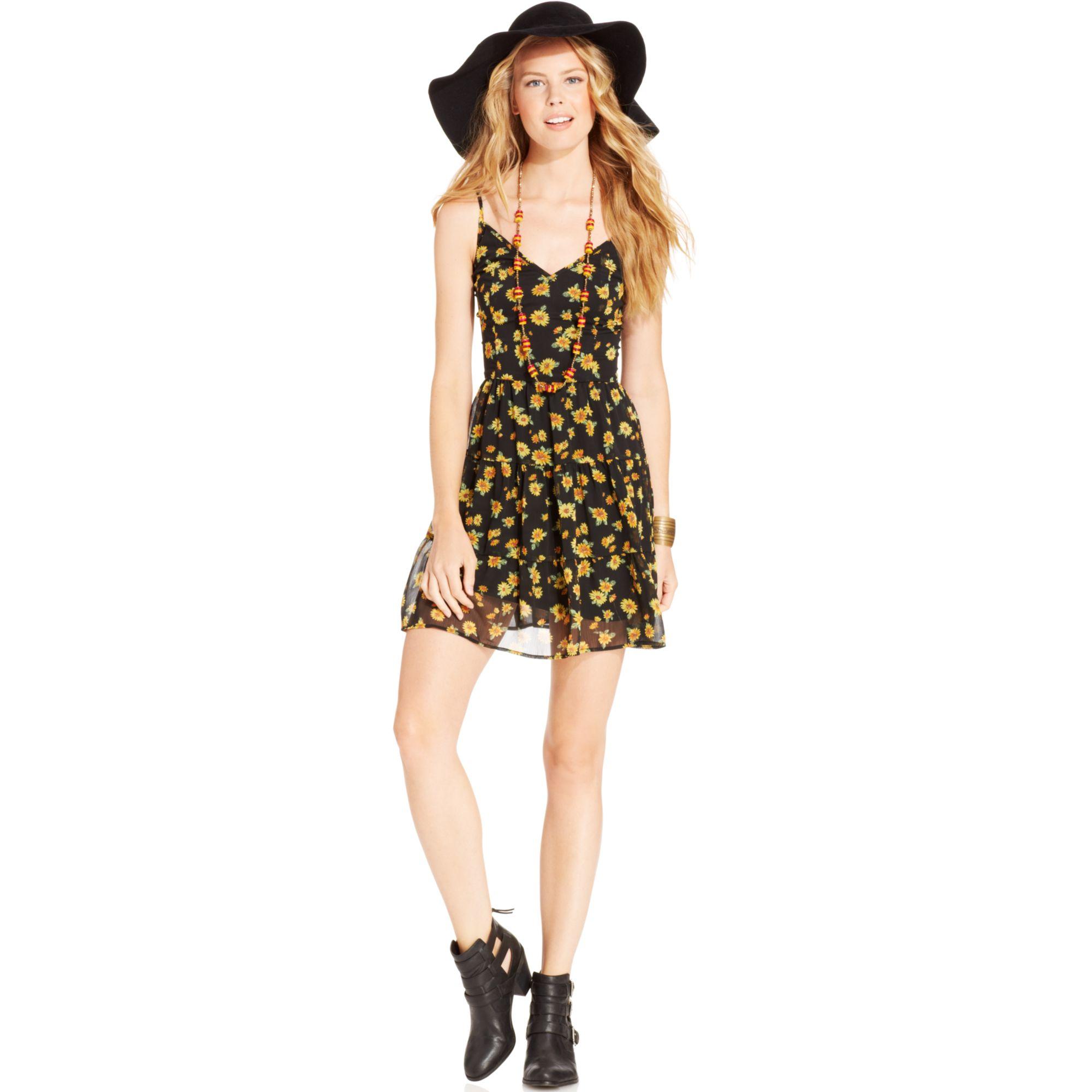 d82b7eb01 American Rag Floral Print Slip Dress in Green - Lyst