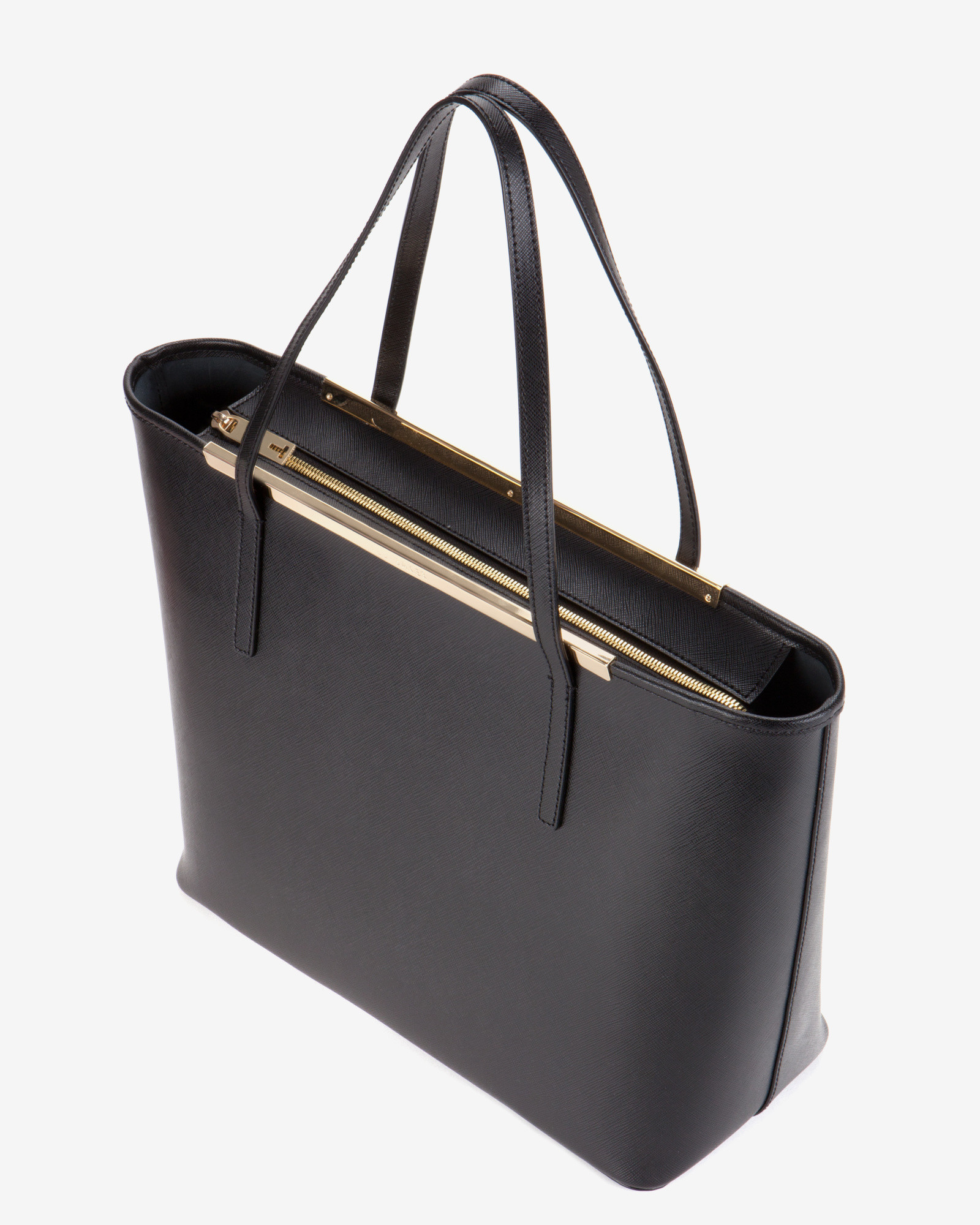 Ted baker Large Crosshatch Leather Shopper Bag in Black | Lyst