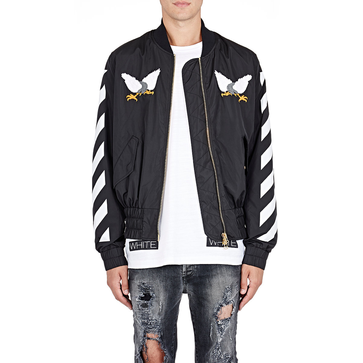 lyst off white c o virgil abloh eagle embroidered bomber jacket in black for men. Black Bedroom Furniture Sets. Home Design Ideas