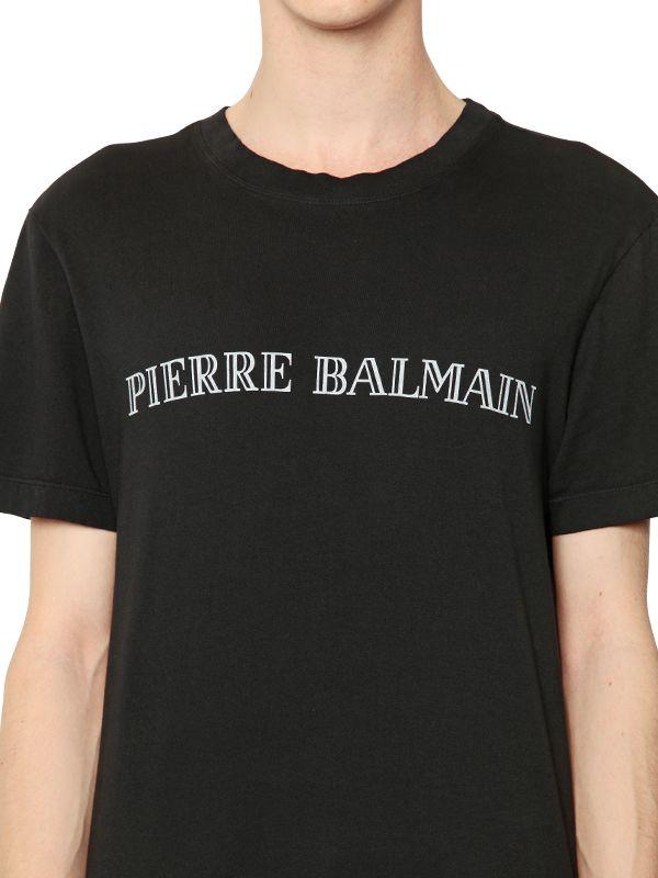 balmain logo printed cotton t shirt in black for men lyst. Black Bedroom Furniture Sets. Home Design Ideas