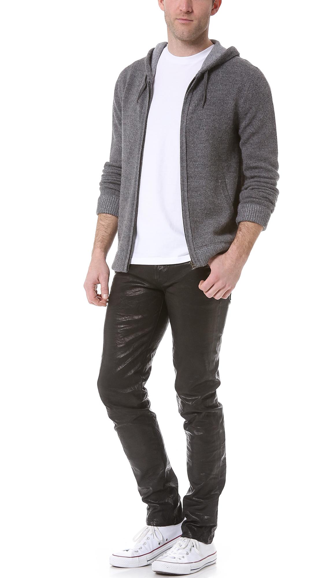 j brand tyler leather jeans in black for men lyst. Black Bedroom Furniture Sets. Home Design Ideas