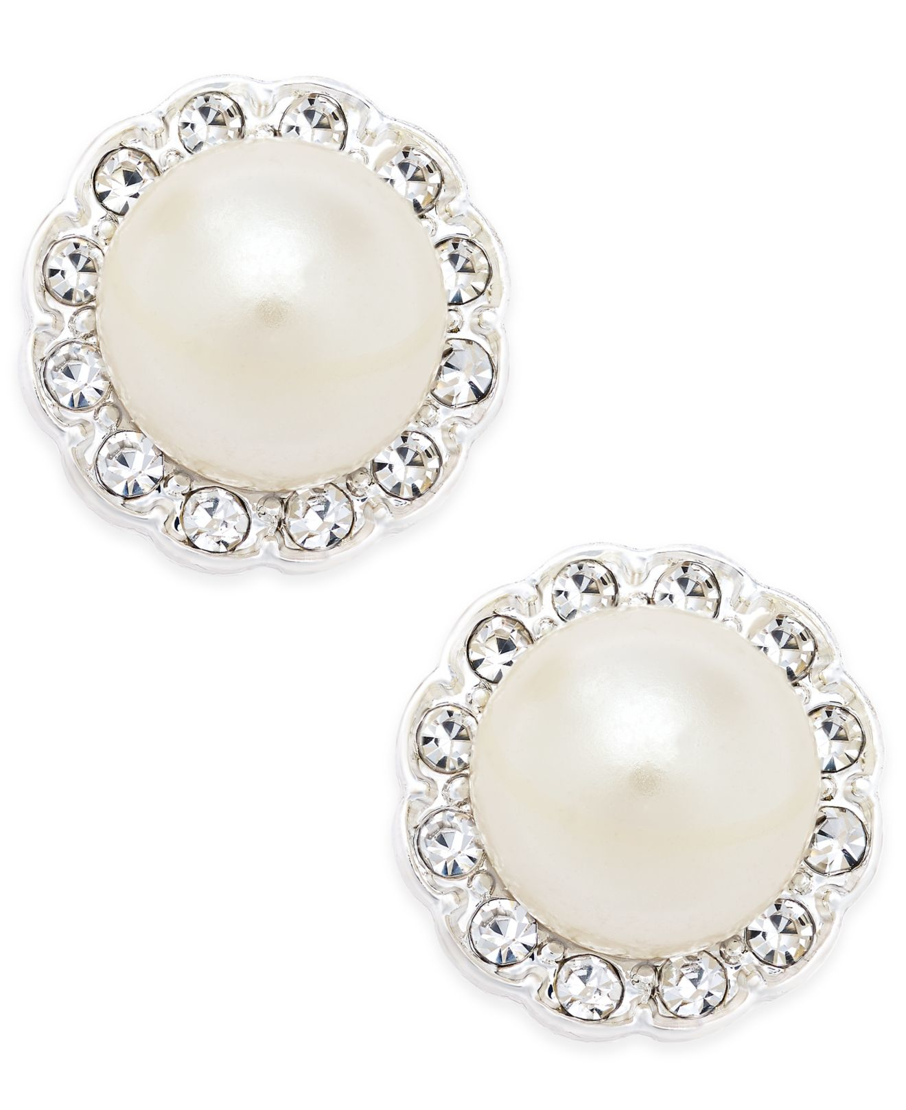 Charter Club Silver Tone Imitation Pearl And Pavé