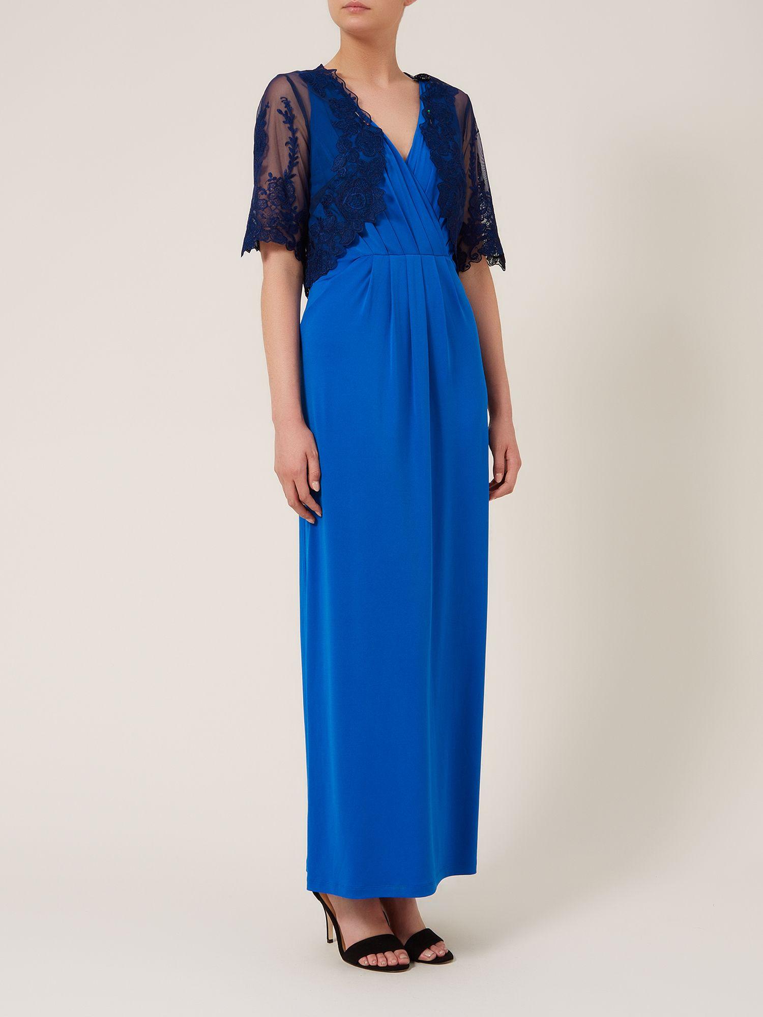 Alexon Maxi Lace Trim Jersey Dress with Lace Bolero in ...
