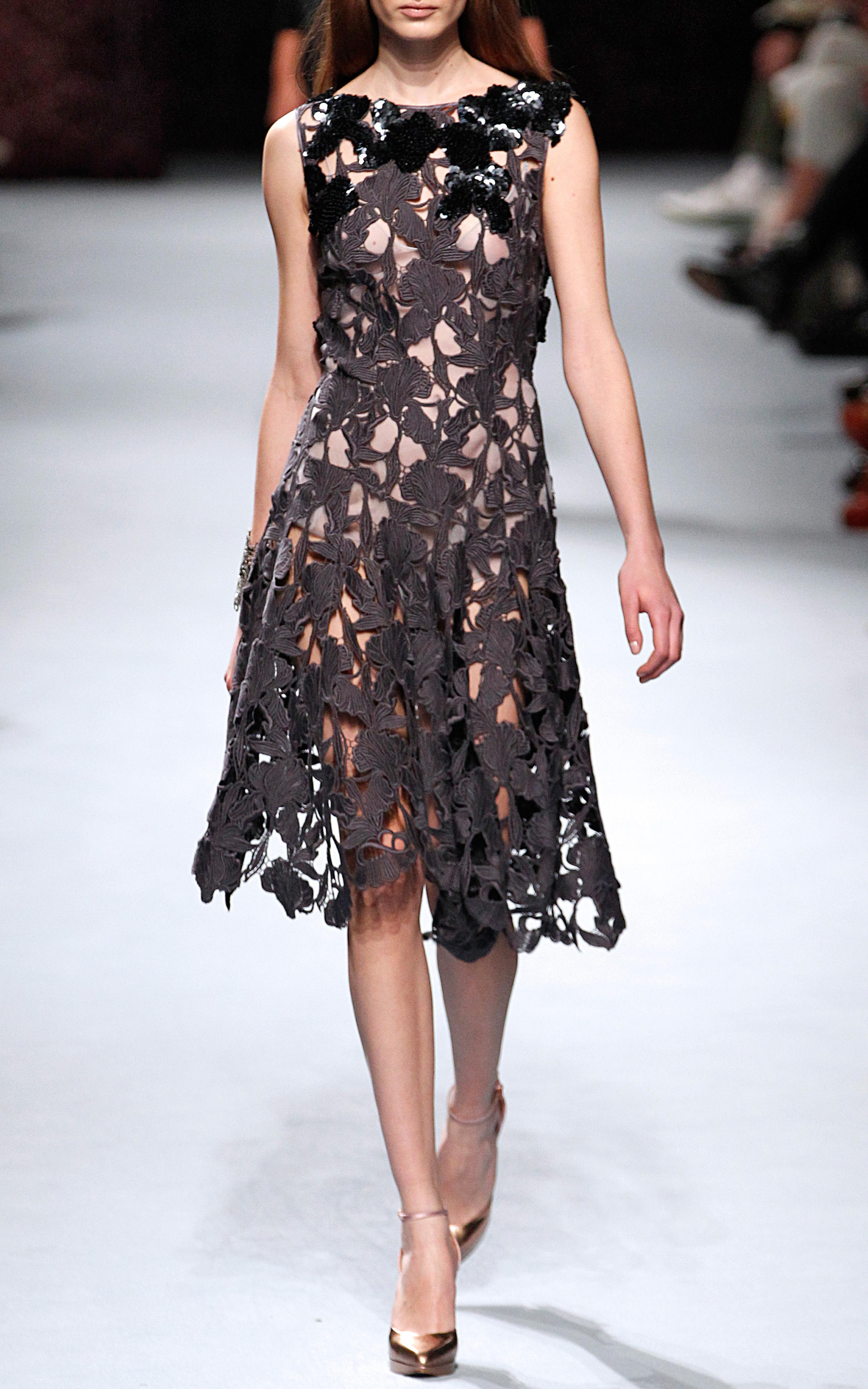 Nina Ricci Embroidered Macrame Dress In Gray Lyst