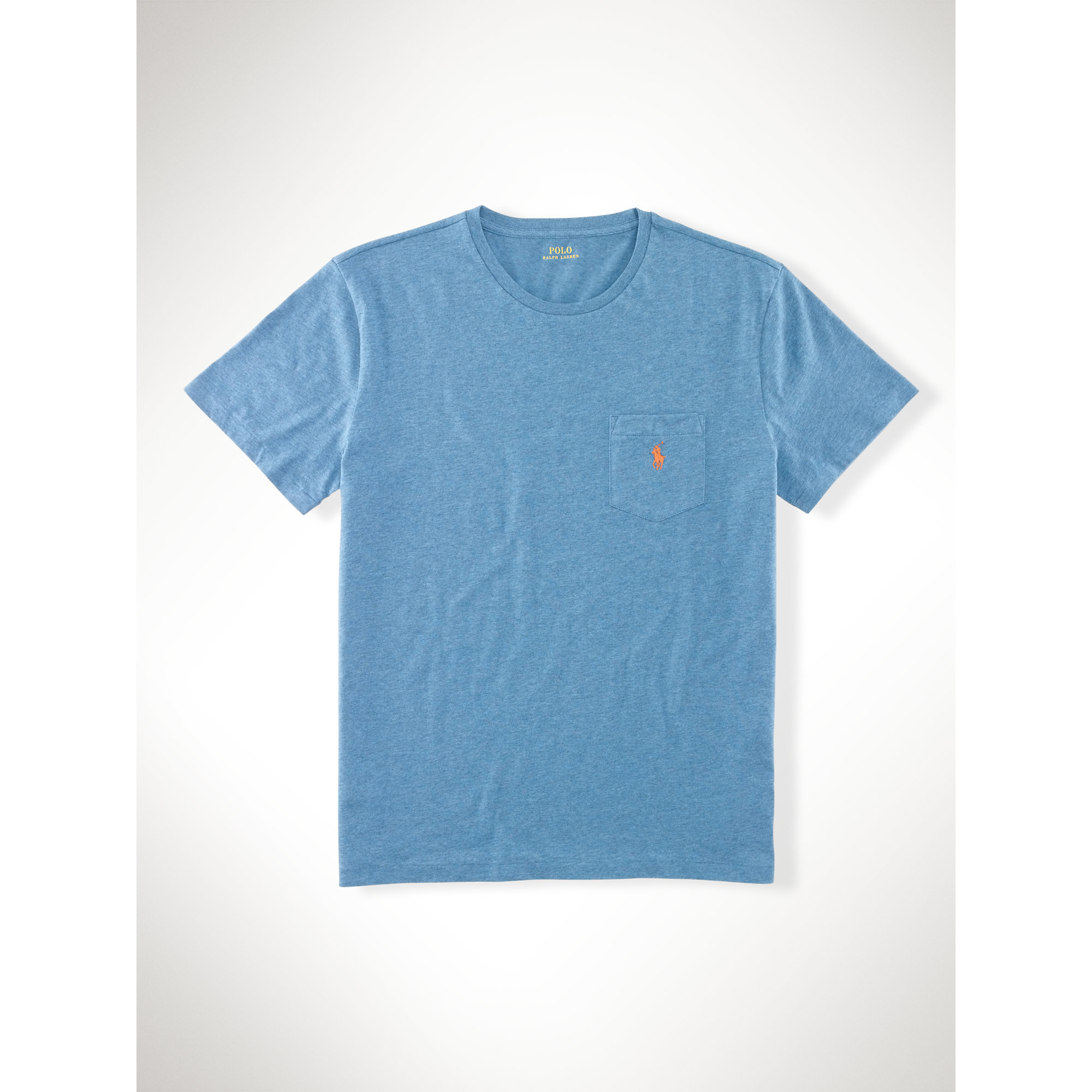 Polo ralph lauren classic fit cotton pocket tee in blue for Polo t shirts with pocket online