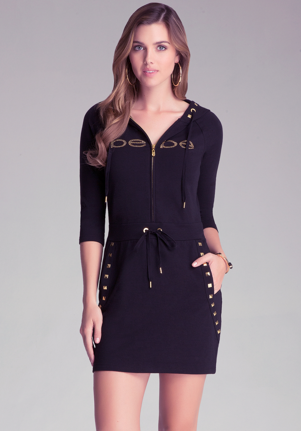 a2059e2e5c3 Lyst - Bebe Studded Logo Hoodie Tunic in Black