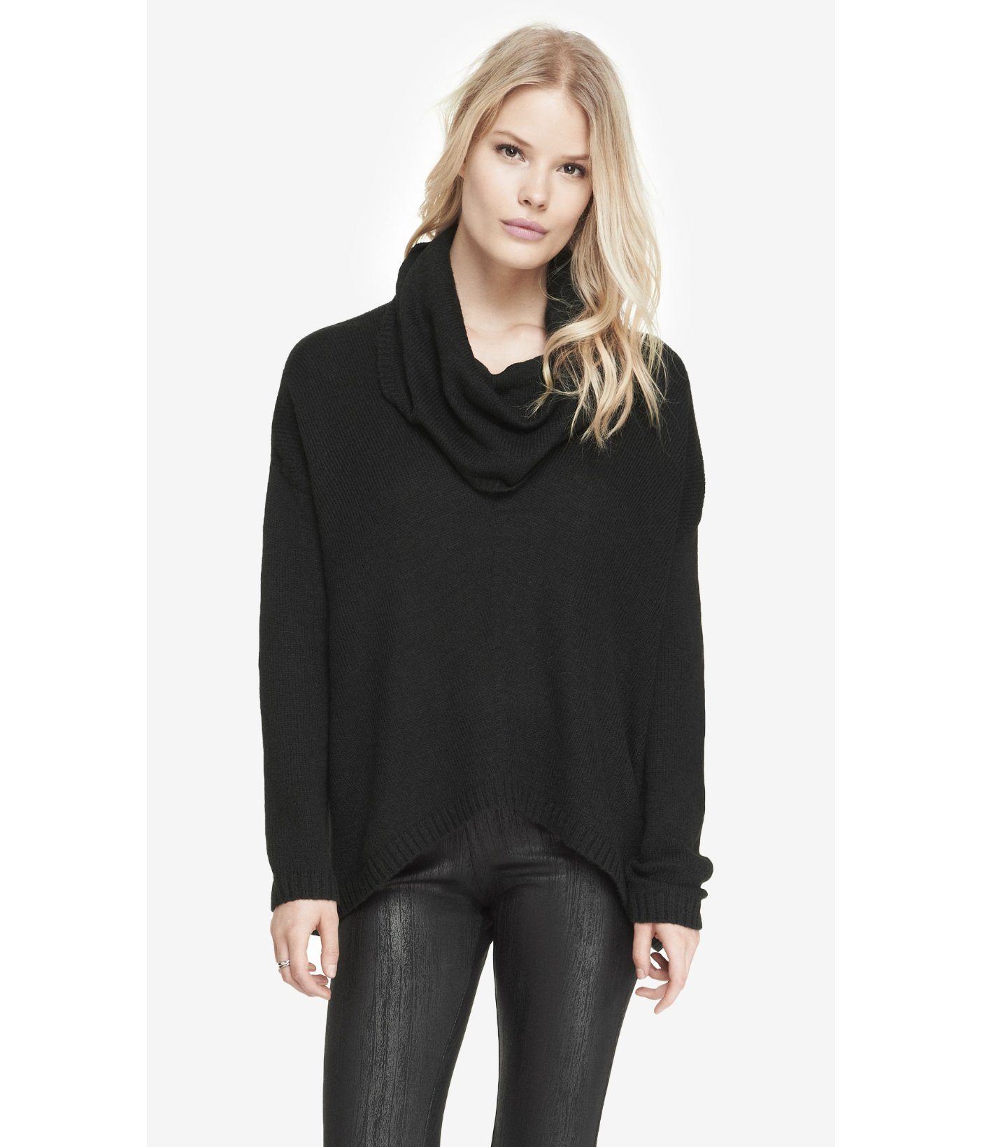 Express Oversized Cowl Neck Sweater in Black | Lyst
