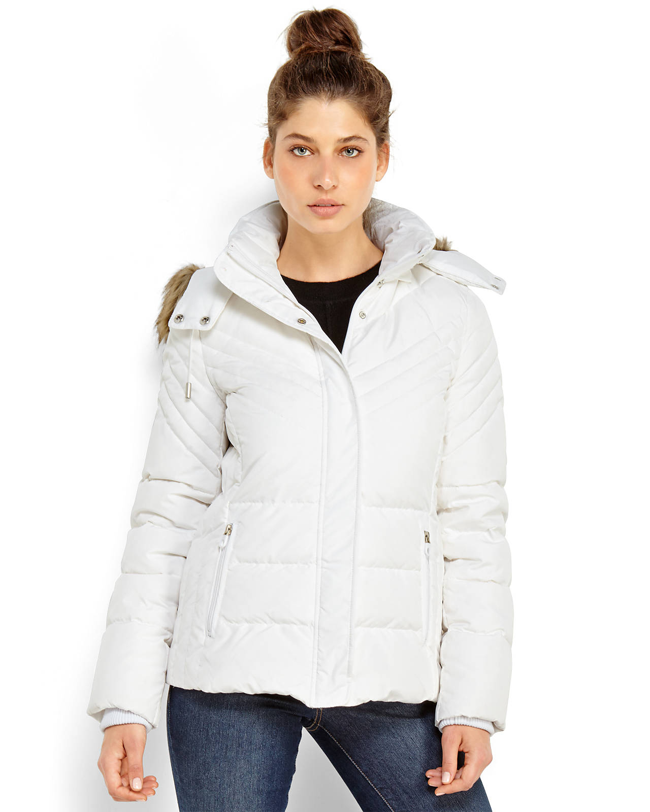 Lyst Kenneth Cole Reaction Faux Fur Trim Hooded Puffer