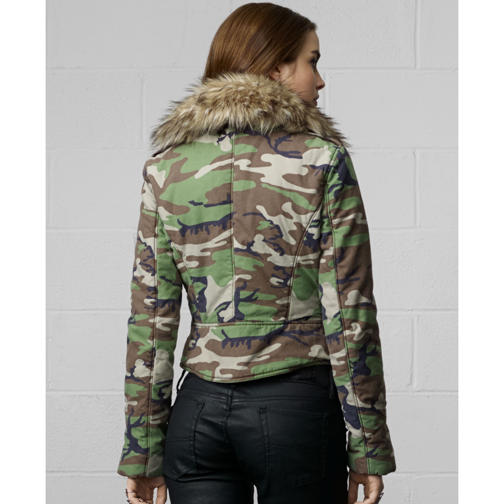 Lyst Denim Amp Supply Ralph Lauren Camo Print Fauxfur Trim