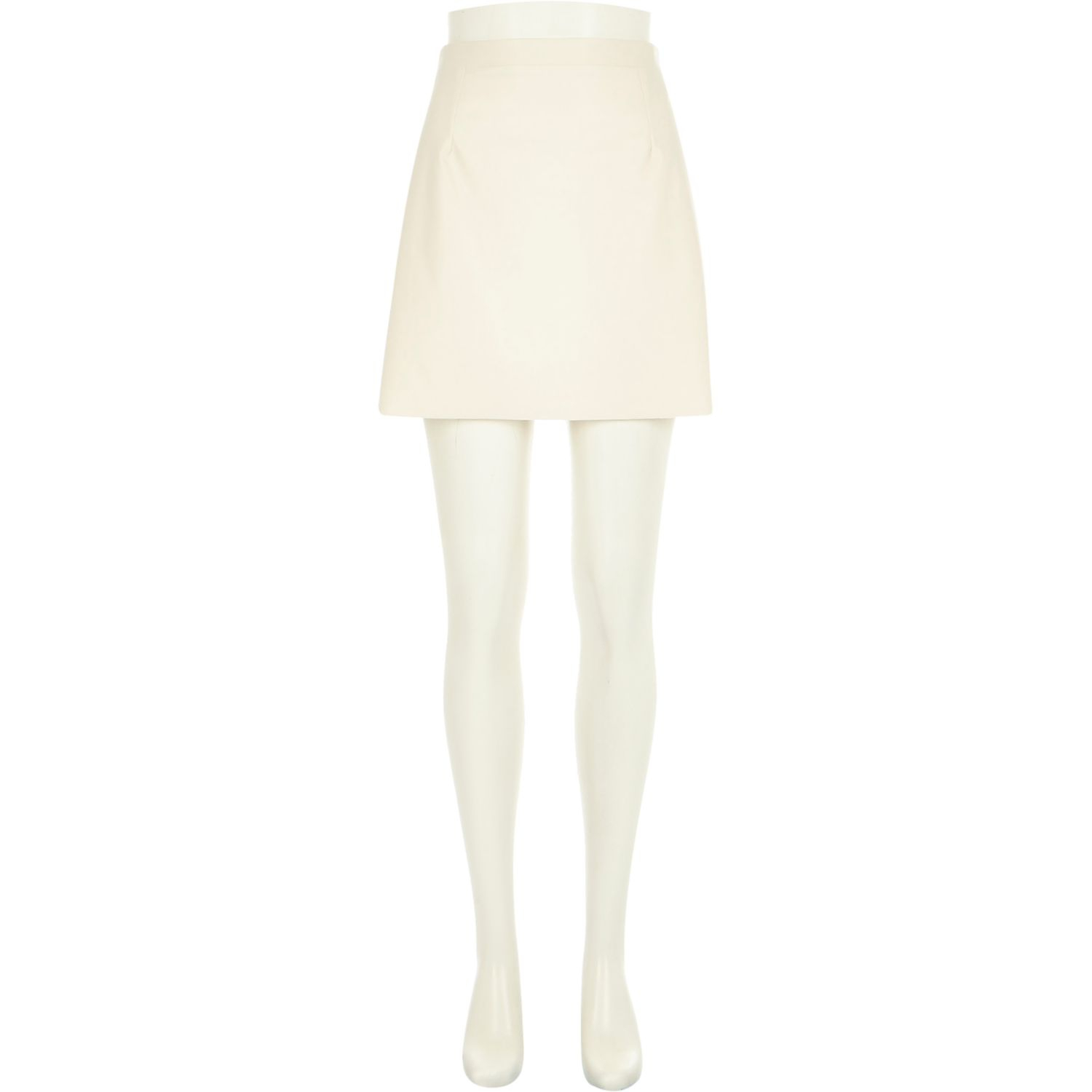 River island Cream Leather-look A-line Skirt in Blue | Lyst