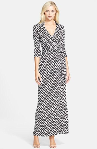 Diane Von Furstenberg Abigail Print Silk Maxi Wrap Dress