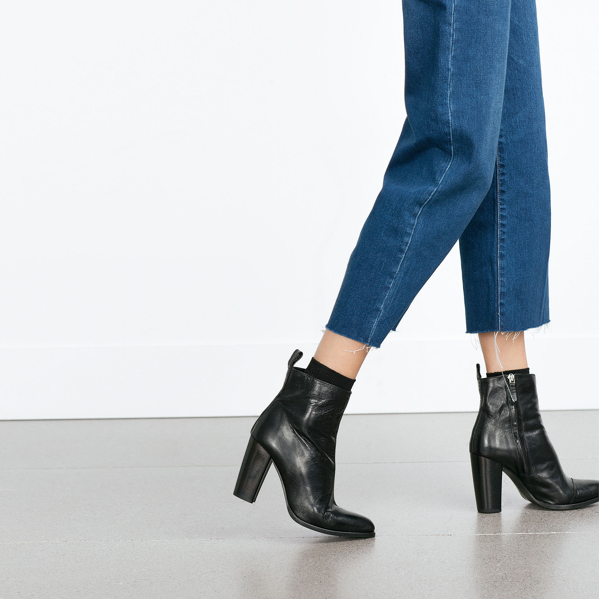 Zara High Heel Leather Ankle Boots With Pull Tab in Black | Lyst