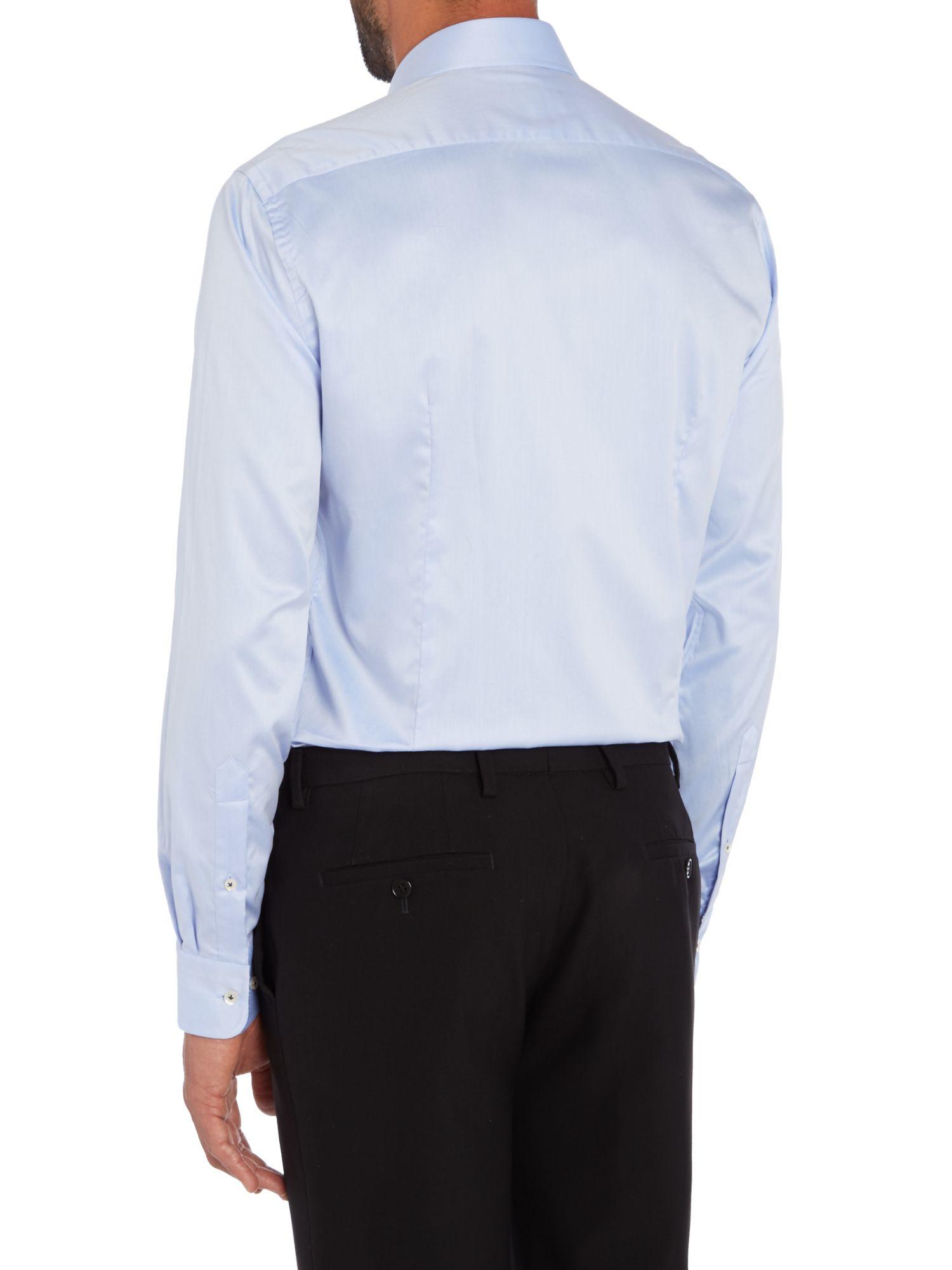 B umler tailored blue twill single cuff shirt in blue for for Single cuff dress shirt
