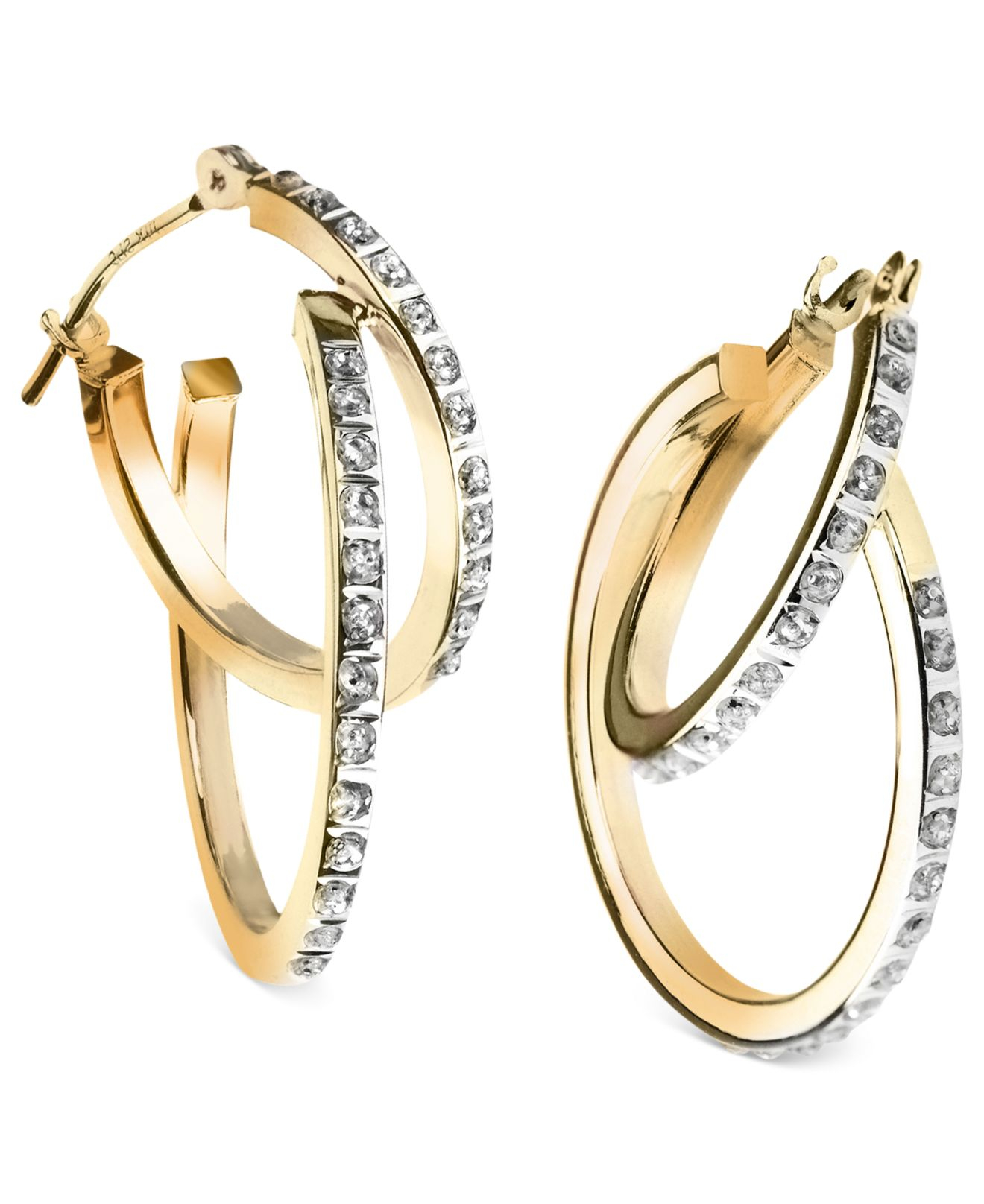 lyst macy 39 s 14k yellow or white gold earrings diamond. Black Bedroom Furniture Sets. Home Design Ideas