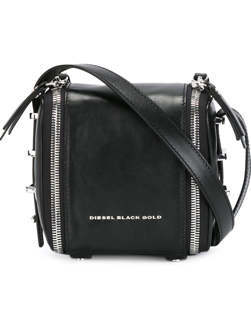 5e230ecb4c9281 Diesel Black Gold Zip-Detail Leather Shoulder Bag in Black - Lyst