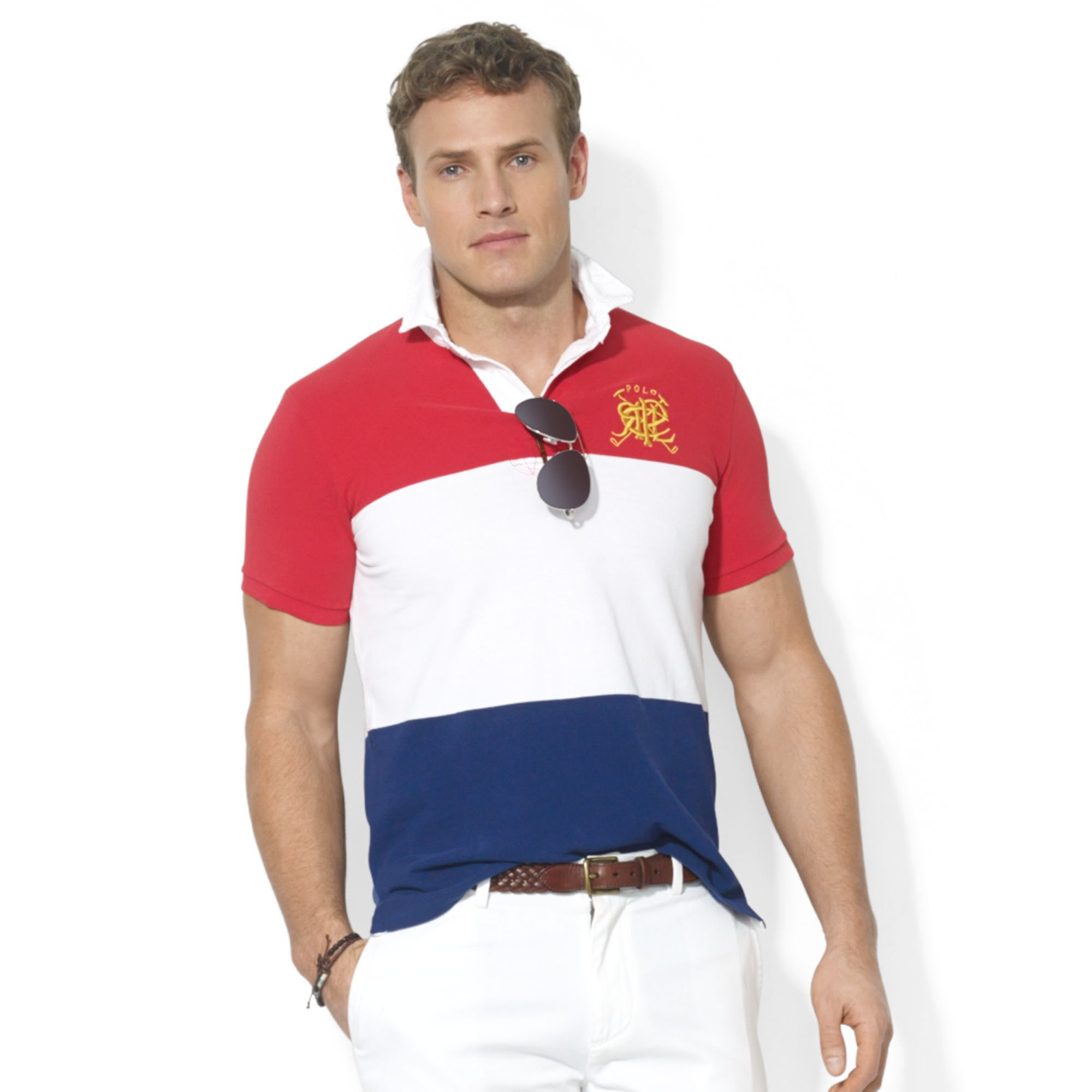 Ralph lauren polo big and tall rugby mesh polo in blue for for Big and tall polo rugby shirts