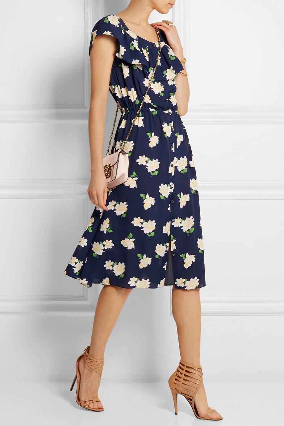 Lyst Michael Kors Floral Print Silk Crepe Midi Dress In Blue