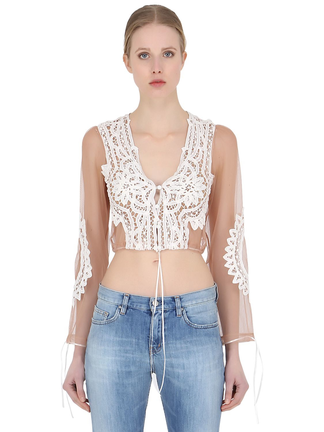 3b159af4136e4 For Love   Lemons Penelope Lace   Tulle Sheer Crop Top in White - Lyst