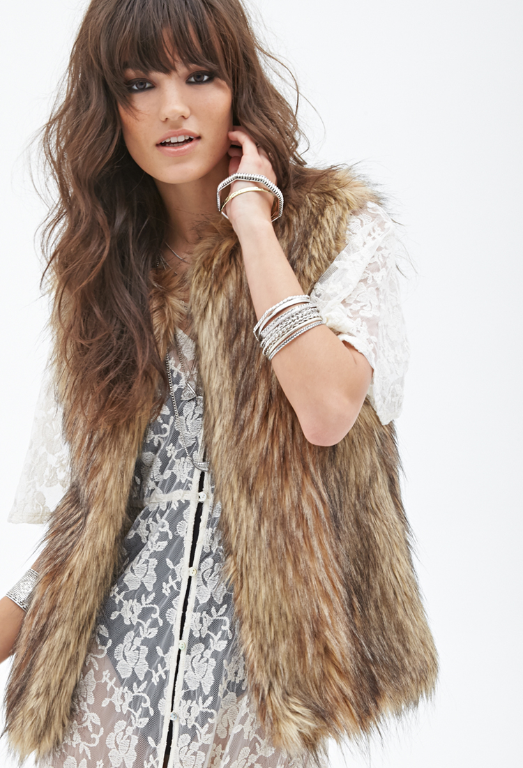 Forever 21 Shaggy Faux Fur Vest In Natural Lyst