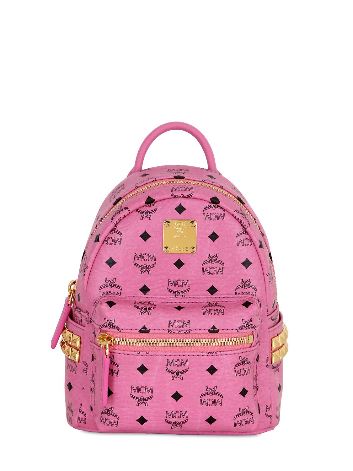 Lyst - MCM Extra Mini Stark Coated Canvas Backpack in Pink 1823db2138af5