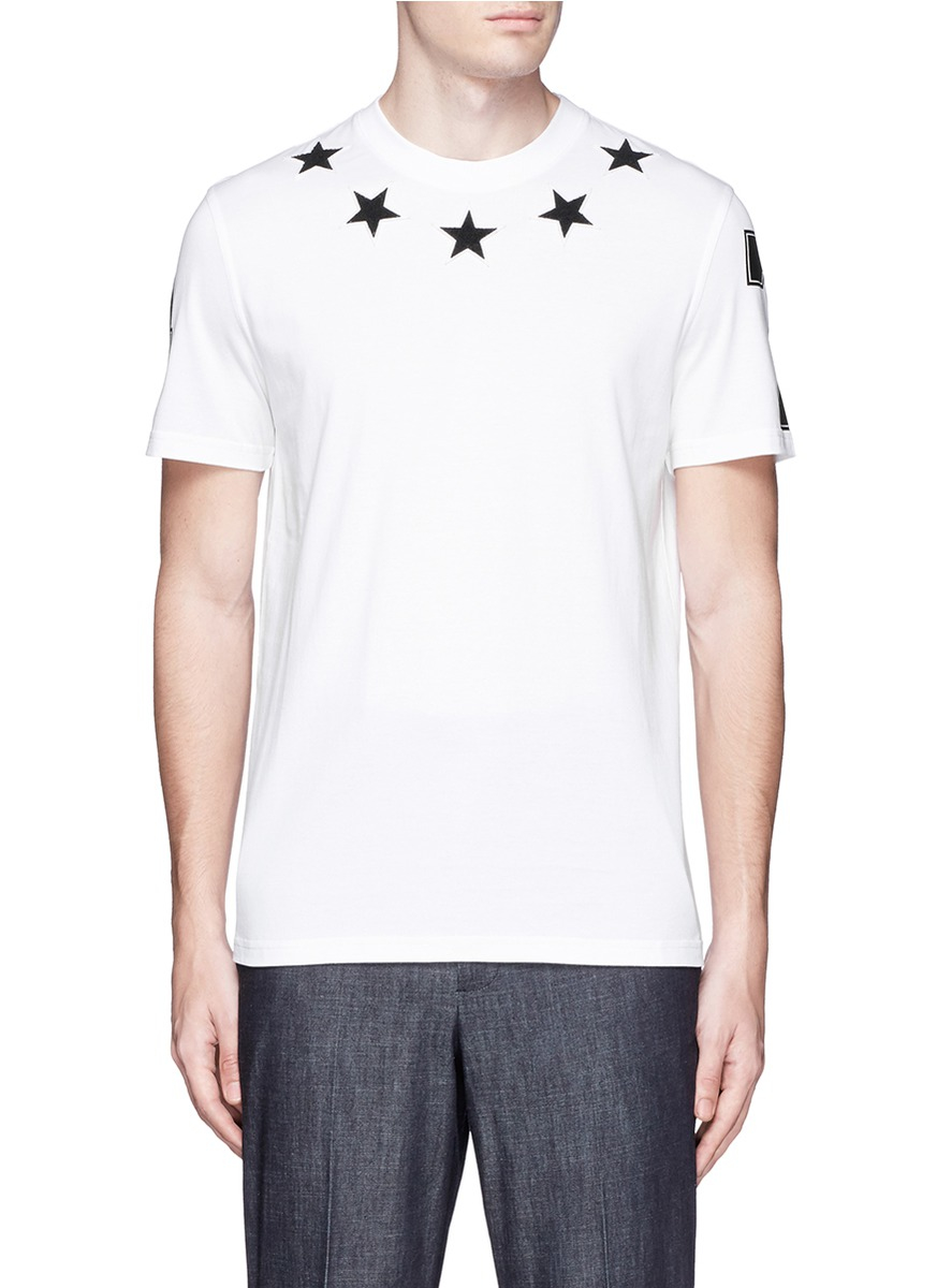 Givenchy star boucl appliqu t shirt in white for men lyst for Givenchy 5 star shirt