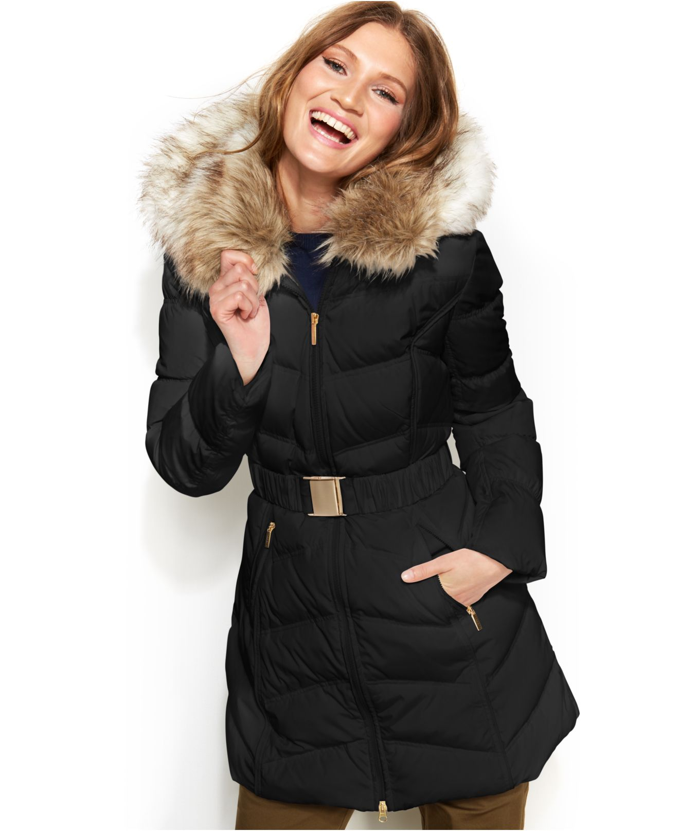 2d1b7e794f8 Lyst - Laundry by Shelli Segal Faux Fur Hooded Down Puffer Coat in Black