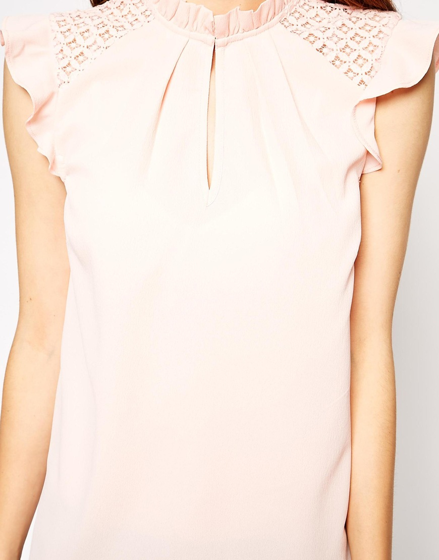 b33a98c074acec Lyst - ASOS Sleeveless Frill Trim Collar Top With Lace Yoke Detail ...