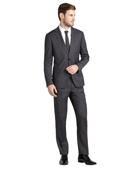Armani Dark Grey Wool 2 Button Suit With Flat Front Pants in Gray