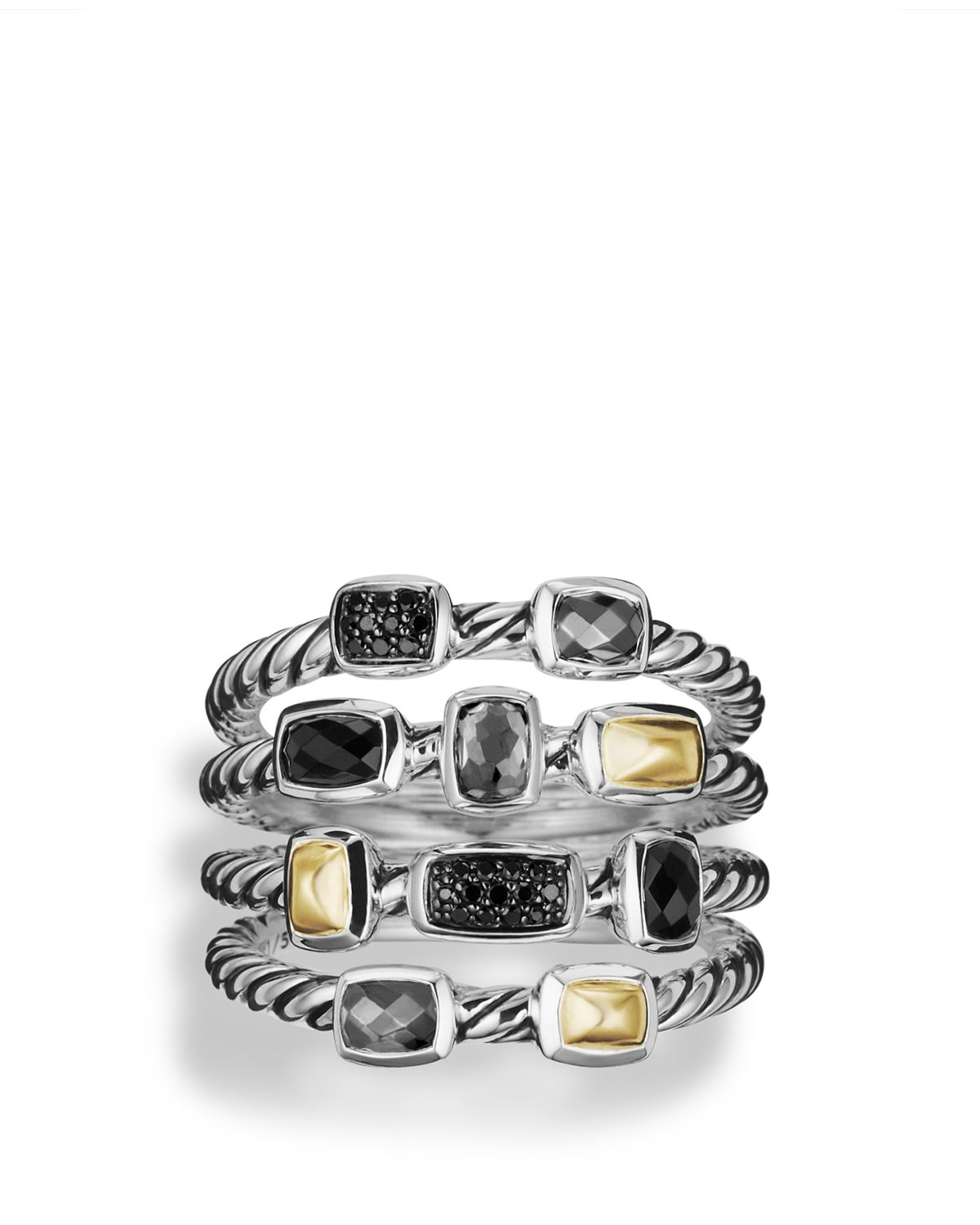 with product ring david yurman rings silver confetti normal onyx gallery black lyst jewelry silvermulti diamonds gold and