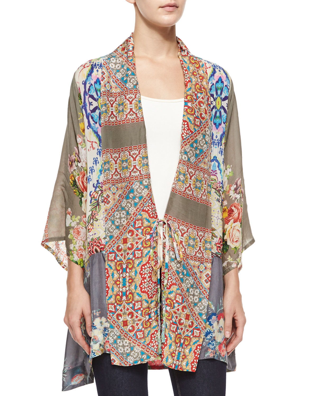 aca1a350d8c Lyst - Johnny Was Half-sleeve Mixed-print Kimono Jacket